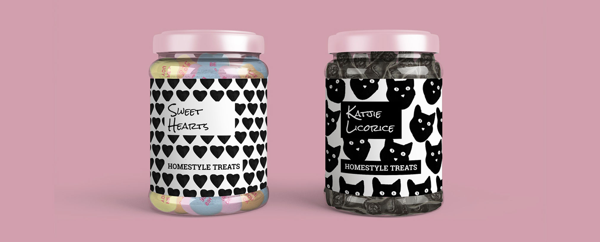 artisanal lifestyle sweets brand label and packaging black and white he