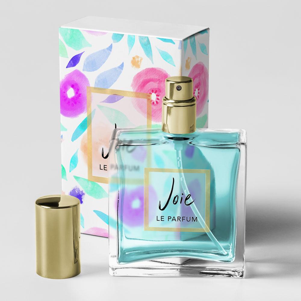 watercolour label packaging floral feminine perfume
